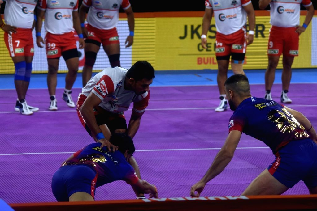 Players in action during a Pro Kabaddi League Season 7 match between Dabang Delhi and Haryana Steelers at National Sports Club of India (NSCI) in Mumbai on July 28, 2019.