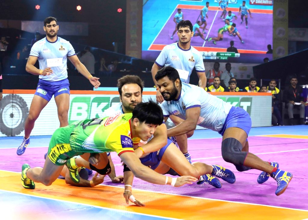 Players in action during a Pro Kabaddi League Season 7 match between Tamil Thalaivas and Patna Pirates at National Sports Club of India (NSCI) in Mumbai on July 29, 2019.