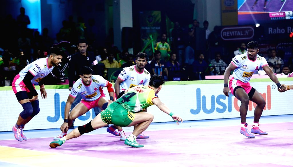 Players in action during a Pro Kabaddi Season 7 match between Patna Pirates and Jaipur Pink Panthers in Patna on Aug 3, 2019.