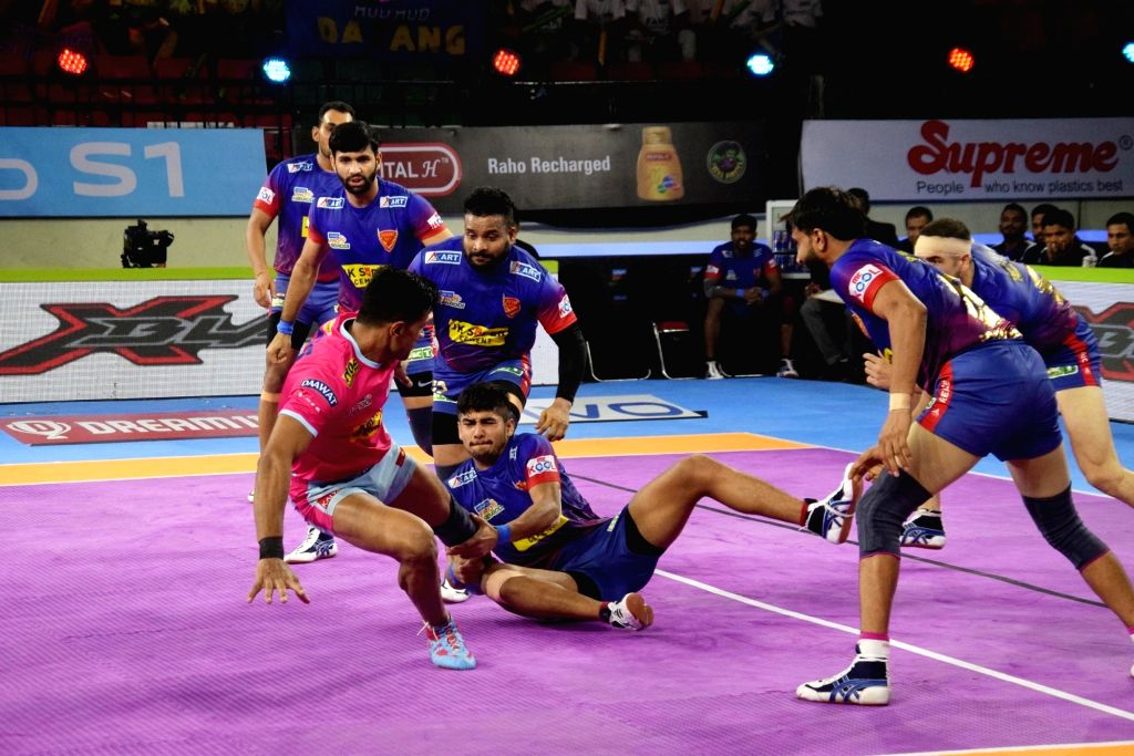 Players in action during a Pro Kabaddi Season 7 match between Patna Pirates and Jaipur Pink Panthers in Patna on Aug 5, 2019.