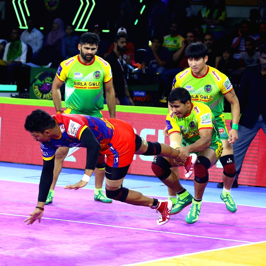 Players in action during a Pro Kabaddi Season 7 match between Patna Pirates and UP Yoddha at Patliputra Sports Complex in Patna on Aug 9, 2019.