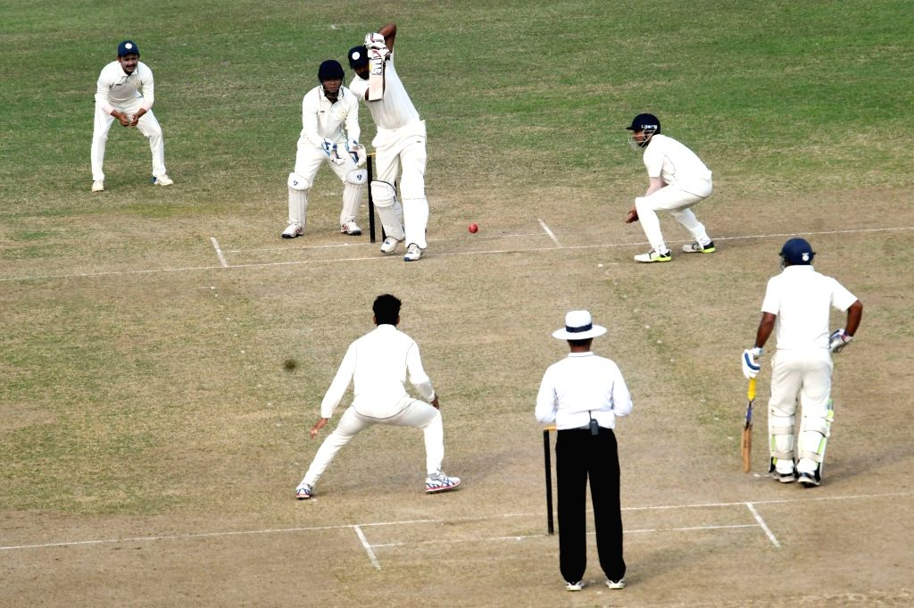 Players in action during a Ranji Trophy match between Sikkim and Bihar at Moin-Ul-Haq Stadium in Patna, on Nov 29, 2018.