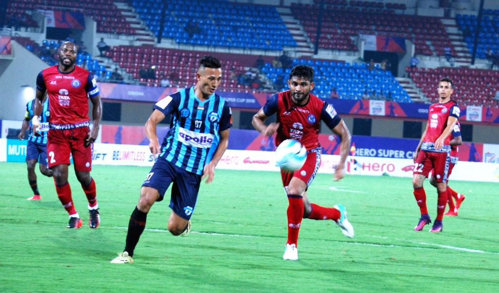 Players in action during a Super Cup match between Jamshedpur FC and Minerva Punjab FC at Kalinga Stadium in Bhubaneshwar on April 2, 2018.