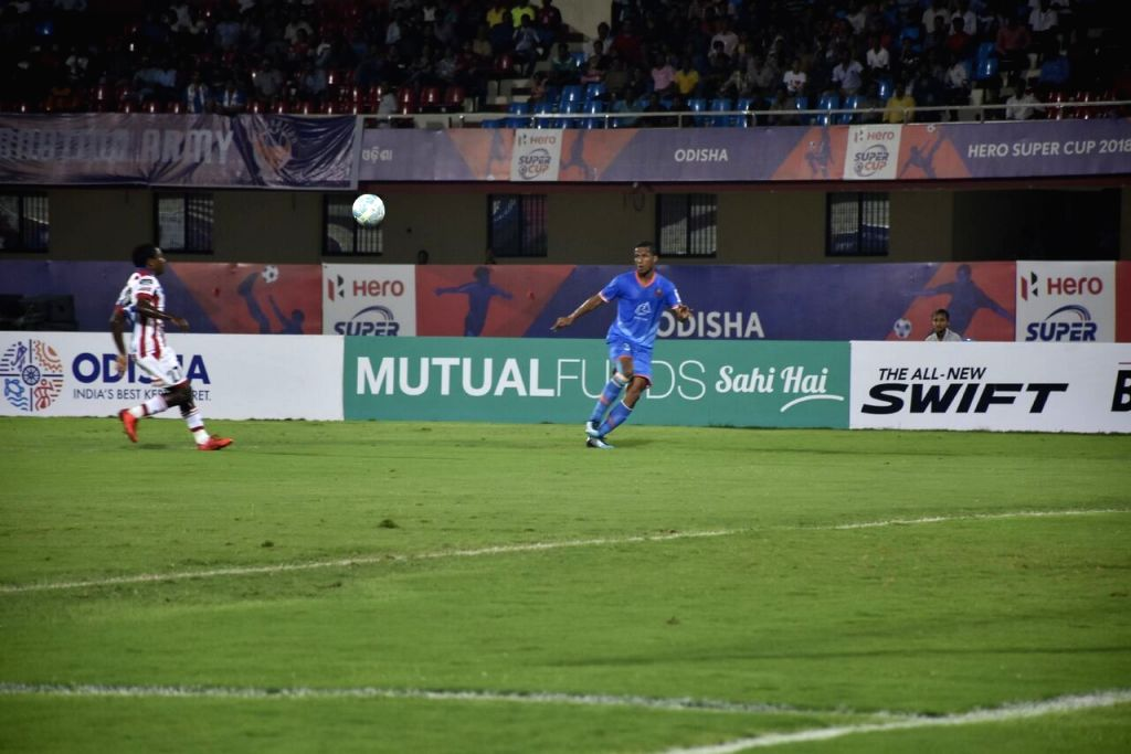 Players in action during a Super Cup match between FC Goa and ATK at Kalinga Stadium in Bhubaneswar, on April 3, 2018. (Photo : IANS)