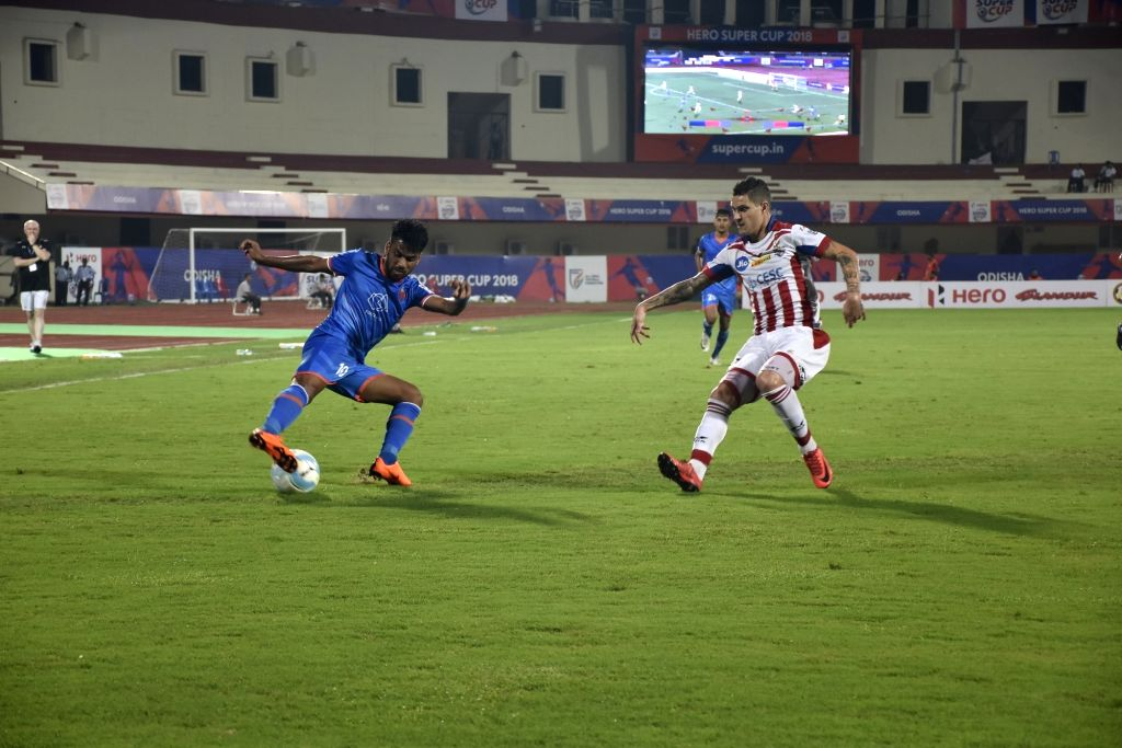 Players in action during a Super Cup match between FC Goa and ATK in Bhubaneswar on April 3, 2018. FC Goa beat ATK 3-1 to advance to the quarter-finals of the Super Cup.
