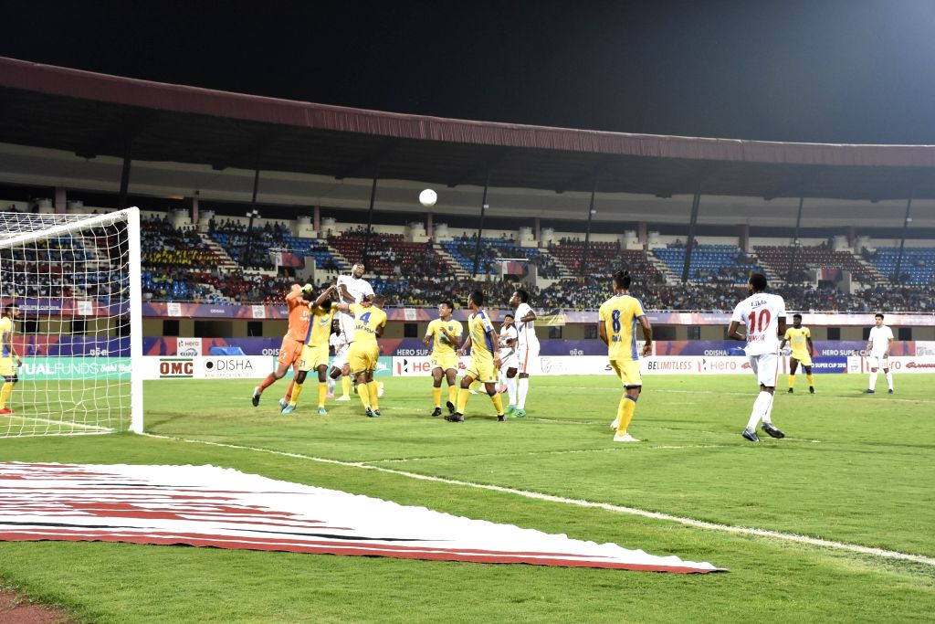 Players in action during a Super Cup match between Kerala Blasters FC and Neroca FC at Kalinga Stadium in Bhubaneswar, on April 6, 2018. (Photo : IANS)