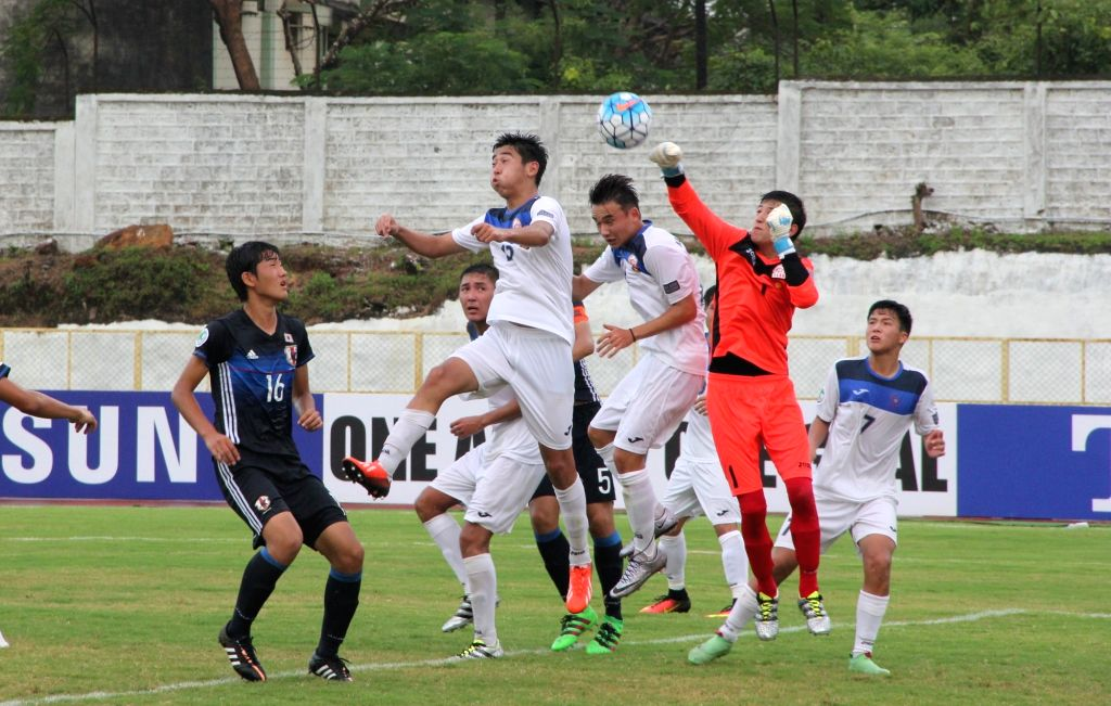 Players in action during  AFC U-16 Championship India 2016 between Japan and Kyrgyzstan at Bambolim Stadium on Sept 19, 2016. Japan won.