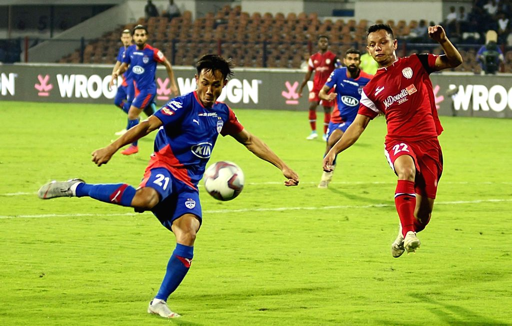 Players in action during an 2018-19 ISL match between Bengaluru FC and NorthEast United FC at Kanteerava Stadium in Bengaluru, on Jan 30, 2019.