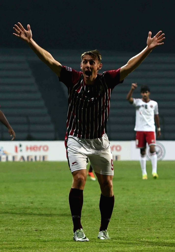 Players in action during an I-League match between Mohun Bagan Club and Shillong Lajong FC in Kolkata, on Jan 13, 2017. Mohun Bagan won. Score: 2-0.