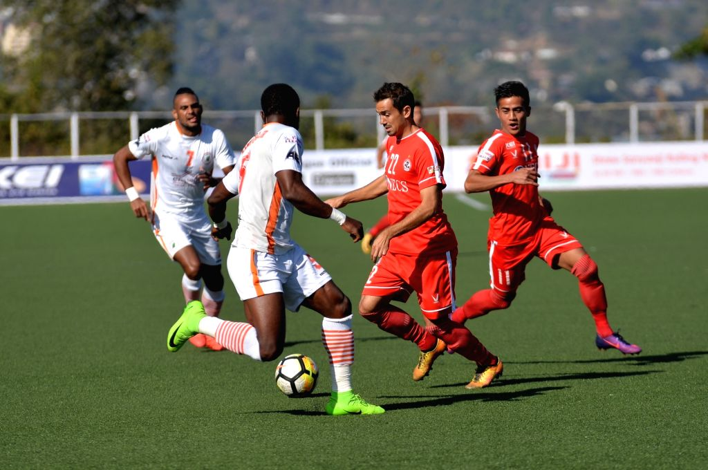 Players in action during an I-League match between Neroca FC and Aizawl FC at the Rajiv Gandhi Stadium in Aizawl on Jan 20, 2018. - Rajiv Gandhi Stadium