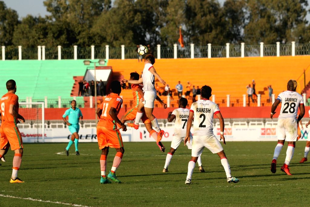 Players in action during an I-League match between Shillong Lajong and NEROCA FC at Khuman Lampak Main Stadium in Imphal on Jan 24, 2018.