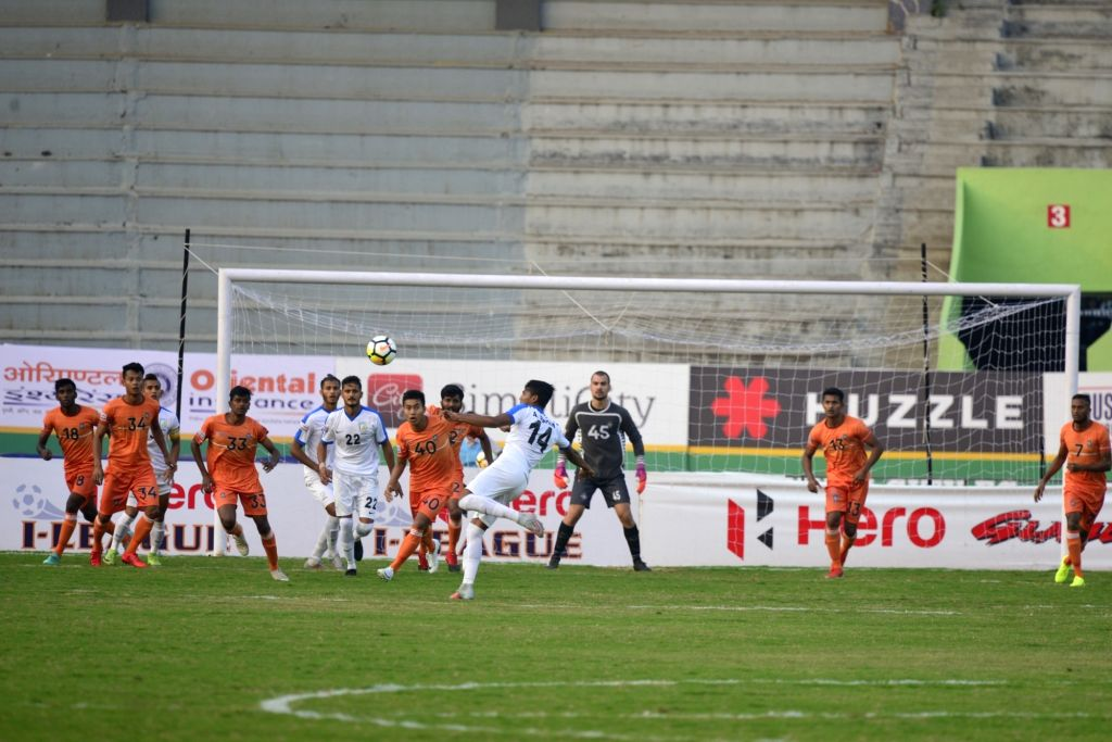 Players in action during an I-League match between Chennai City FC and Indian Arrows at the Jawaharlal Nehru Stadium in Coimbatore on Jan 27, 2018.