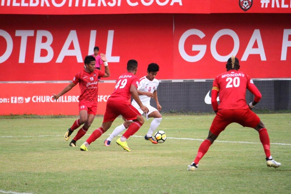 Players in action during an I-League match between DSK Shivajians FC and Aizawl FC at the Tilak Maidan Ground in Vasco, Goa on Feb 6, 2018.