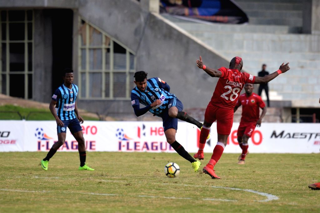 Players in action during an I-League match between Shillong Lajong FC and Minerva Punjab FC at the Tau Devi Lal stadium in Panchkula, Haryana on Feb 7, 2018.