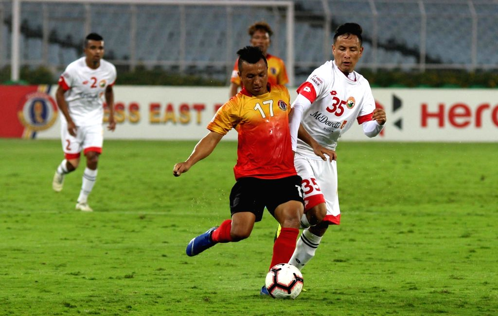 Players in action during an I-League match between East Bengal F.C. and Shillong Lajong F.C. at Salt Lake Stadium in Kolkata on Feb 14, 2019.