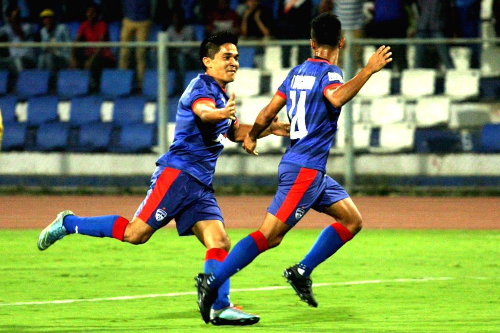 Players in action during an I League math between Bengaluru FC and Salgaocar (Goa) at Kanteerava Stadium in Bengaluru on April 17, 2016.