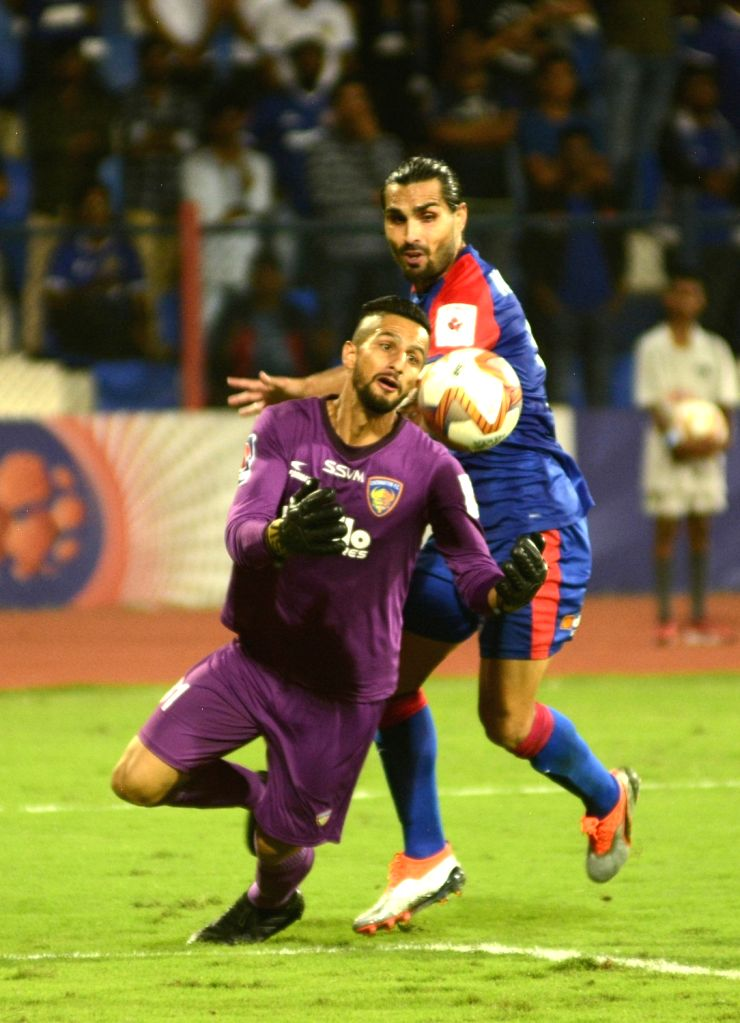Players in action during an Indian Super League (ISL) match between Bengaluru FC and Chennaiyan FC at the Kanteerava Stadium in Bengaluru, on Nov 10, 2019.