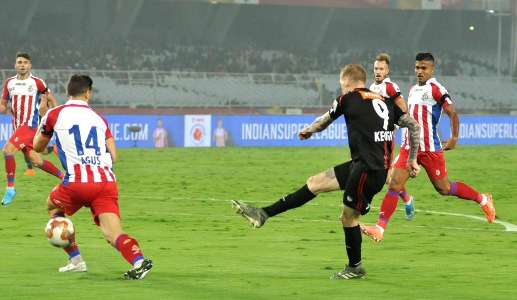 Players in action during an  Indian Super League (ISL) Match between ATK and North East United FC at Salt Lake Stadium in Kolkata on Jan 27, 2019.