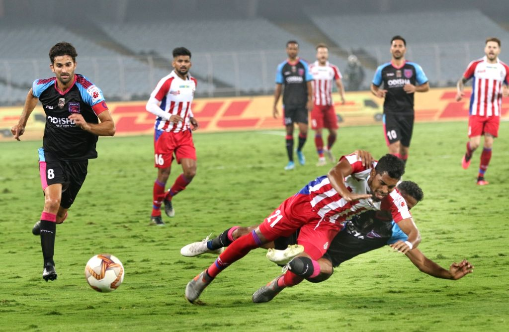 Players in action during an Indian Super League (ISL) match between ATK and Odisha FC at Salt Lake Stadium in Kolkata on Feb 8, 2020.