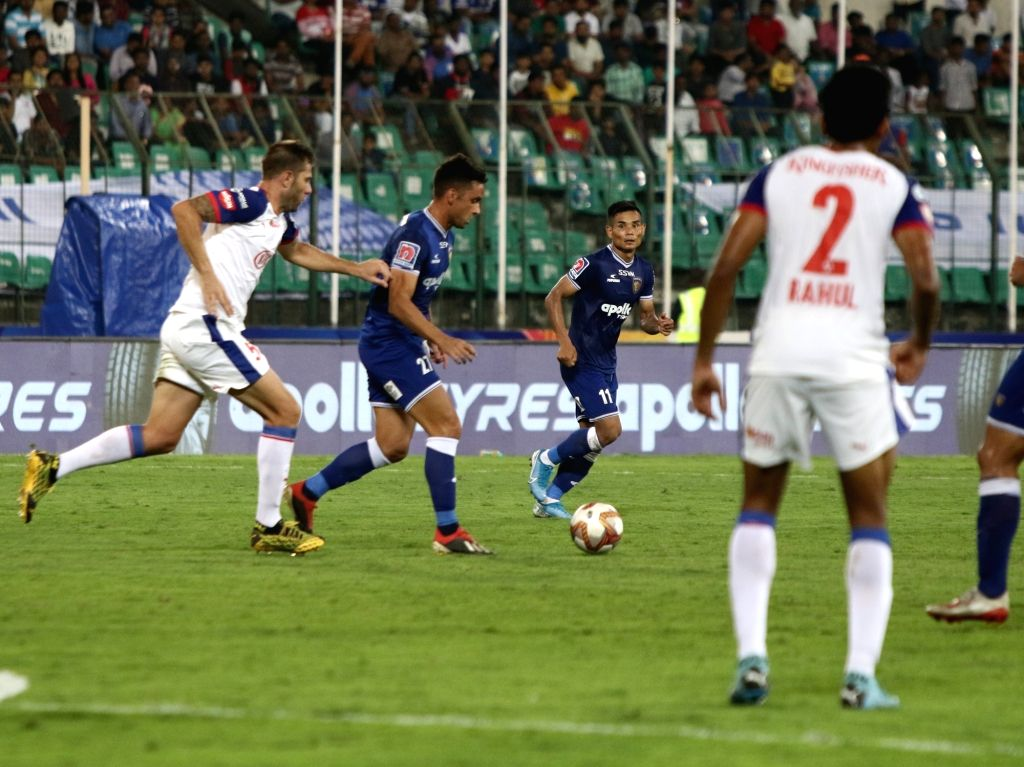 Players in action during an Indian Super League 2019-20 match between Chennaiyain FC and Bengaluru FC at the Jawaharlal Nehru Stadium in Chennai on Feb 9, 2020.