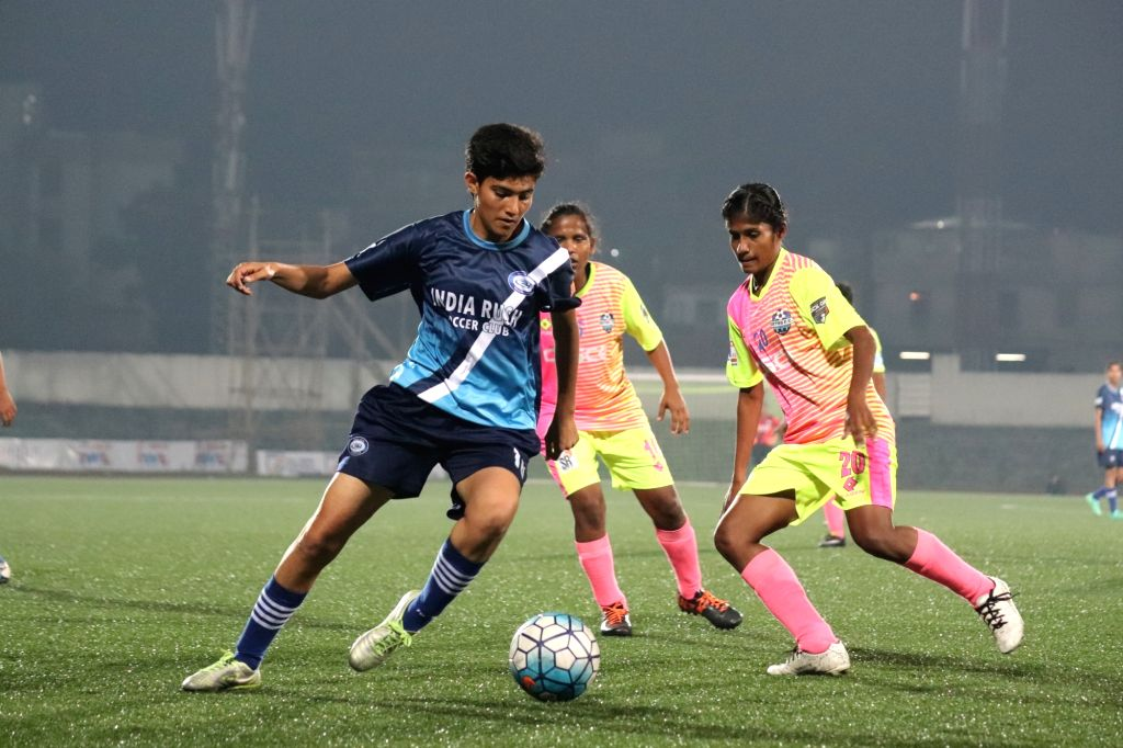 Players in action during an Indian Women's League match between Sethu FC and India Rush Soccer Club at the Jawaharlal Nehru Stadium in Shillong, Meghalaya on April 4, 2018.