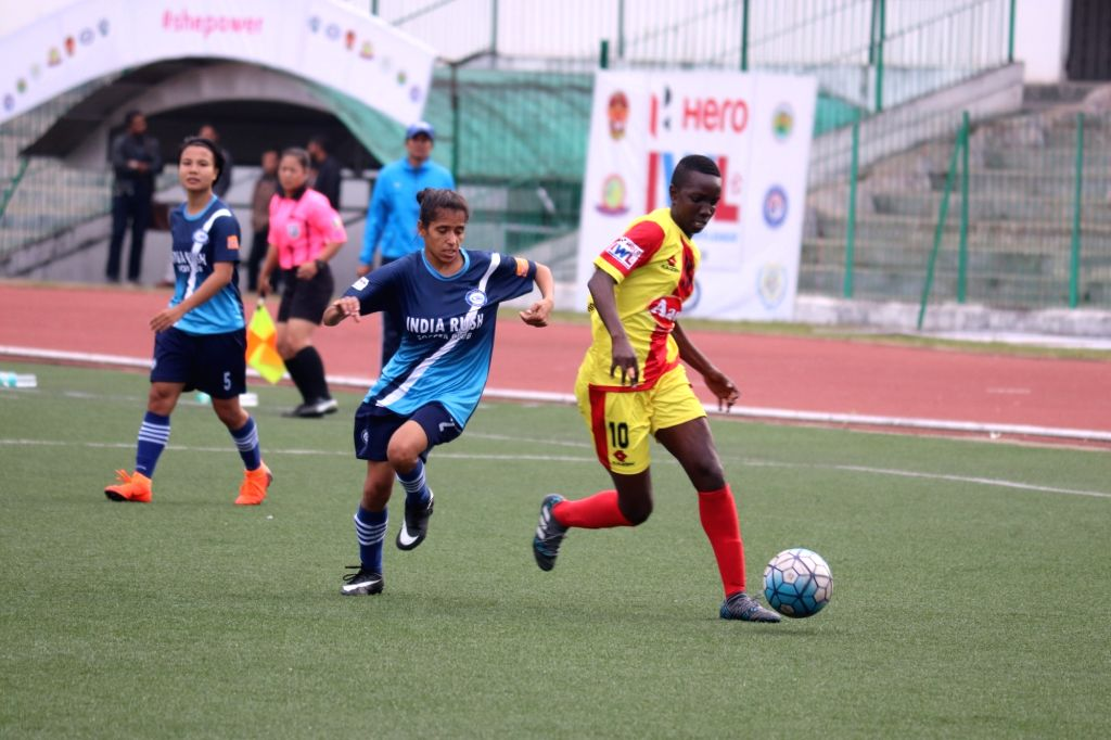 Players in action during an Indian Women's League match between India Rush SC and Gokulam Kerala FC at the Jawaharlal Nehru Stadium in Shillong, Meghalaya on April 6, 2018.