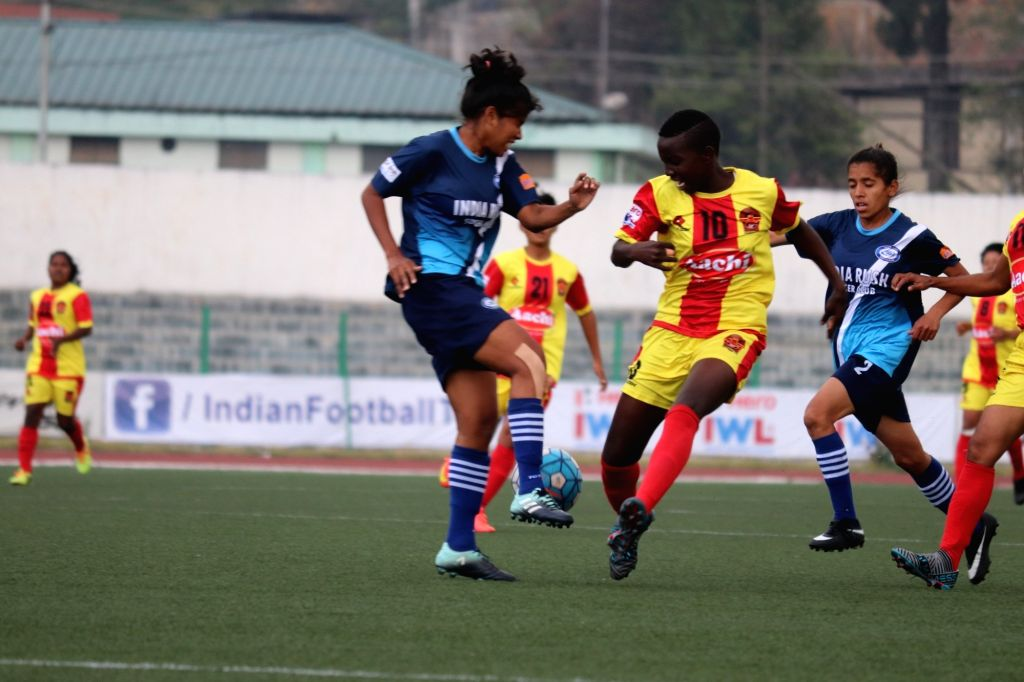 Players in action during an Indian Women's League match between India Rush SC and Gokulam Kerala FC at the Jawaharlal Nehru Stadium in Shillong, Meghalaya on April 6, 2018.