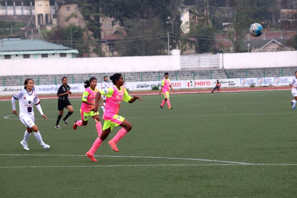 Players in action during an Indian Women's League match between Eastern Sporting Union and Sethu FC at the Jawaharlal Nehru Stadium in Shillong on April 8, 2018.