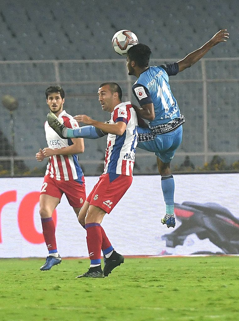 Players in action during an ISL 2018-19 match between ATK and Jamshedpur FC in Kolkata on Feb 3, 2019.