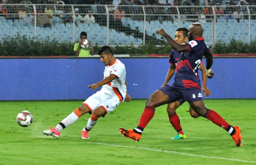 Players in action during an ISL 2018 match between ATK and FC Goa at Salt Lake Stadium in Kolkata, on Nov 27, 2018.
