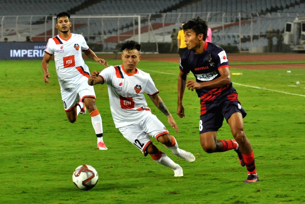 Players in action during an ISL 2018 match between ATK and FC Goa at Salt Lake Stadium in Kolkata, on Nov 28, 2018.