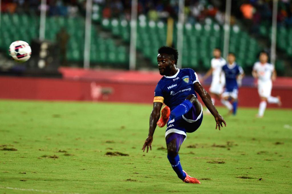 Players in action during an ISL match between Delhi Dynamos FC and Chennaiyin FC at Jawaharlal Nehru Stadium in Chennai on Nov. 24, 2015.