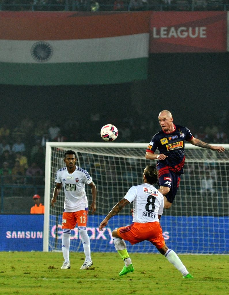 Players in action during an ISL match between Atletico de Kolkata and FC Pune City in Kolkata, on Nov 27, 2015.