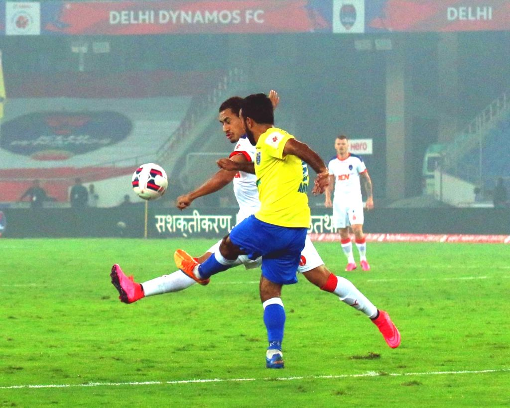 Players in action during an ISL match between Delhi Dynamos FC and  NorthEast United FC in New Delhi, on Dec 3, 2015.