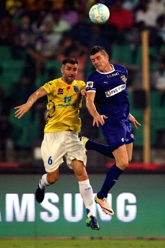 Players in action during an ISL match between Kerala Blasters FC and Chennaiyin FC in Chennai on Oct 29, 2016.