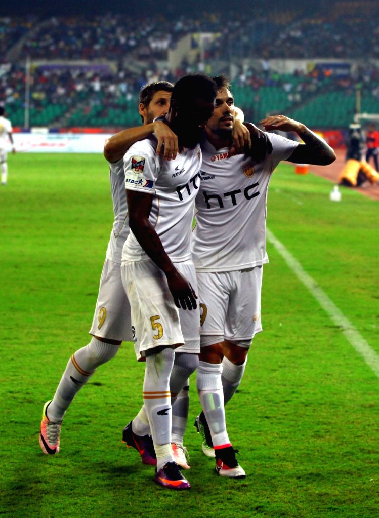 Players in action during an ISL match between Chennaiyin FC and NorthEast United FC in Chennai on Nov 26, 2016.