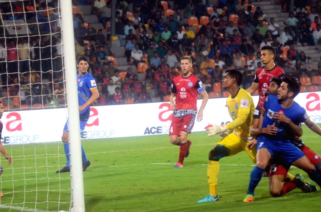 Players in action during an ISL match between Mumbai City FC and Jamshedpur FC at Andheri Sport Complex in Mumbai on Feb 1, 2018.