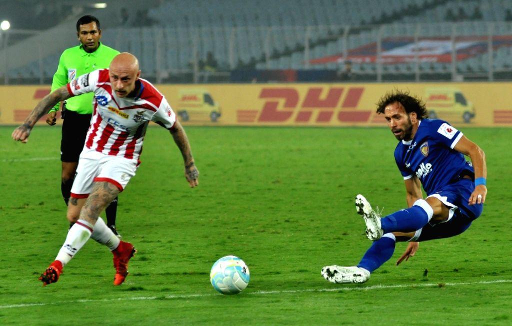 Players in action during an ISL match between ATK and Chennaiyin FC at Salt Lake Stadium in Kolkata, on Jan 25, 2018.
