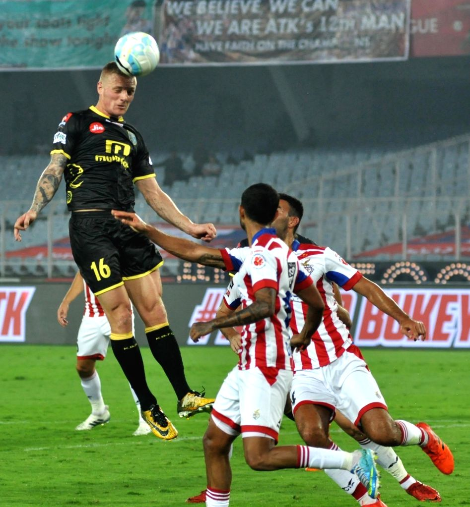 Players in action during an ISL match between ATK and Kerala Blasters FC at Salt Lake Stadium in Kolkata on Feb 8, 2018.
