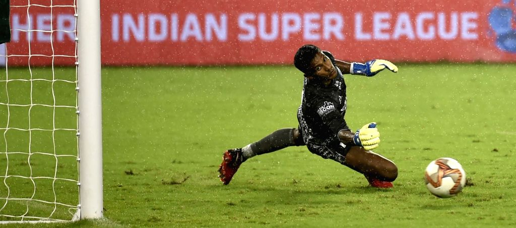 Players in action during an ISL match between ATK and Jamshedpur FC at Salt Lake Stadium in Kolkata, on Nov 9, 2019.