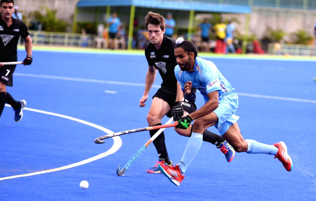 Players in action during hockey test series between India and New Zealand at the Sports Authority of India in Bengaluru on July 19, 2018.