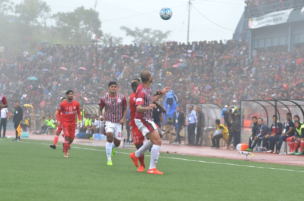 Players in action during I-League match between Aizawl FC and Mohun Bagan at the Rajiv Gandhi Stadium in Aizawl on April 22, 2017. - Rajiv Gandhi Stadium