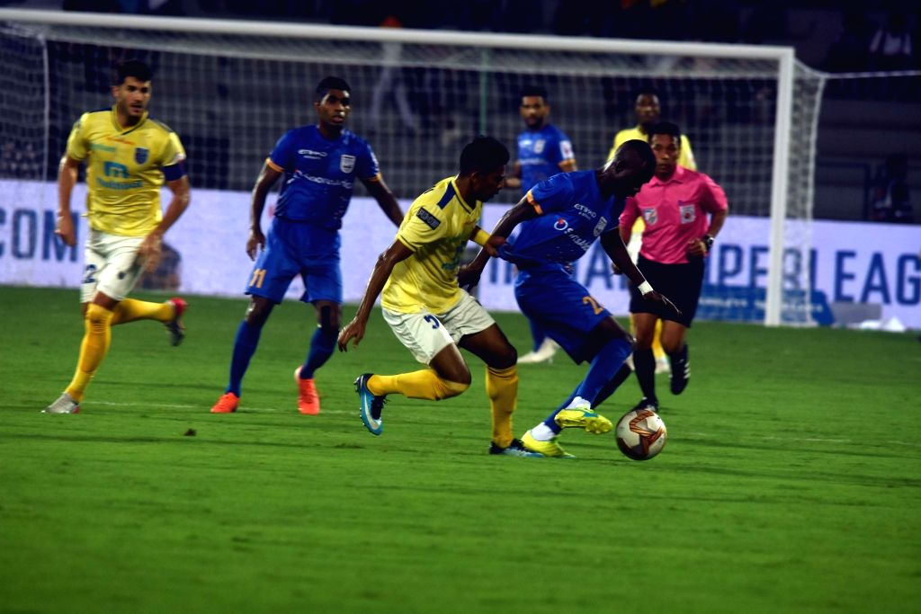 Players in action during Indian Super League (ISL) match between Mumbai City FC and Kerala Blasters at Andheri Sports Complex in Mumbai on Dec 5, 2019.