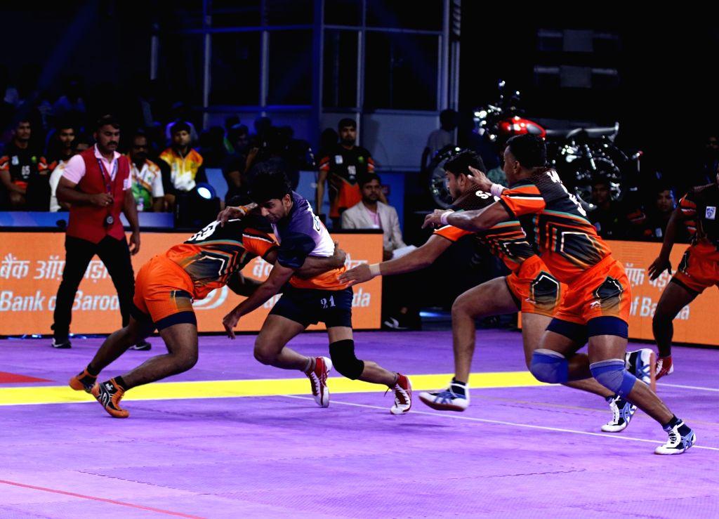 Players in action during Indo International Premier Kabaddi League match between Pondicherry Predators and Telugu Bulls in Mysuru on May 28, 2019.