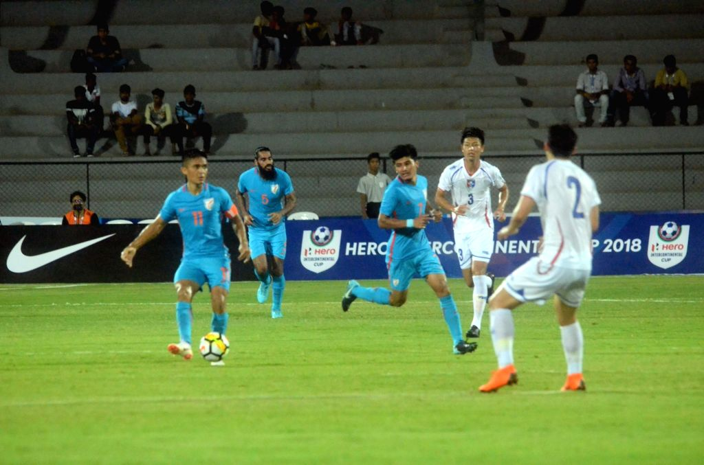Players in action during Intercontinental Cup match between India and Chinese Taipei at Andheri Sport Complex in Mumbai on June 1, 2018.