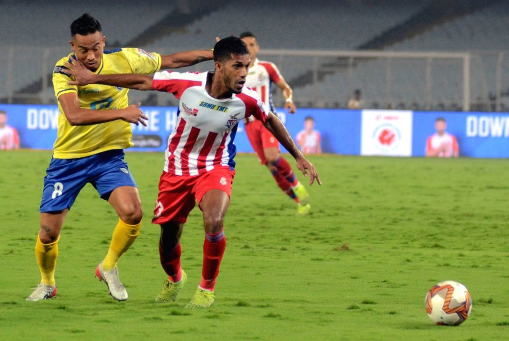 Players in action during ISL match between ATK and Kerala Blasters FC at Salt Lake Stadium in Kolkata on Jan 12, 2020.
