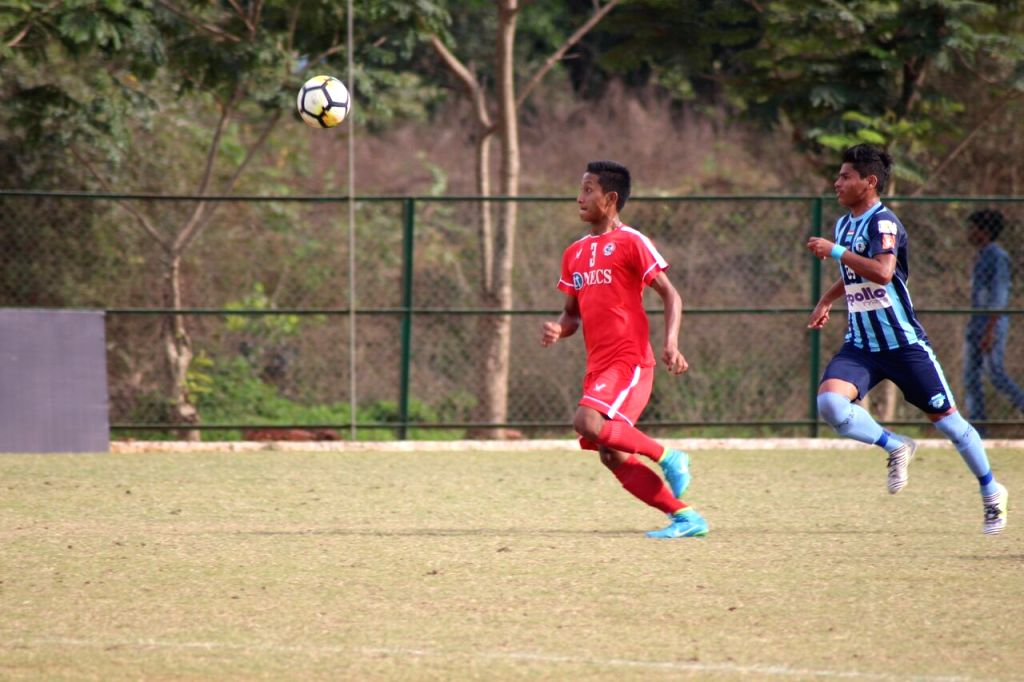 Players in action during Nike Premier Cup match between Minerva Punjab FC and Aizawl FC at the Nagoa sports complex ground in Goa on Feb 6, 2018. Minerva Punjab FC fought off the challenge of ...