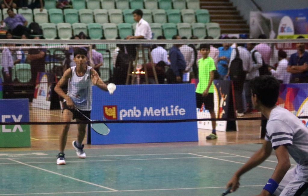 Players in action during PNB Metlife Junior Badminton Championship, in New Delhi on July 17, 2018.