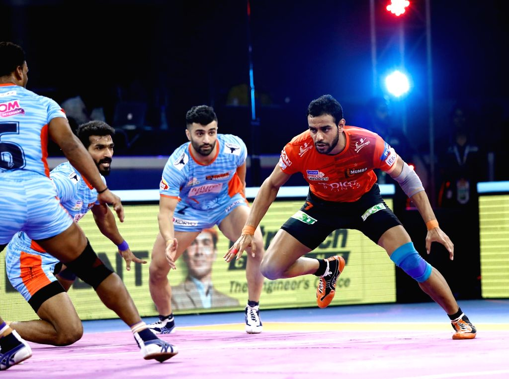 Players in action during Pro Kabaddi Season 7 2nd Semi Final match between Bengal Warriors and U Mumba at the EKA Arena by TransStadia in Ahmedabad on Oct 16, 2019.