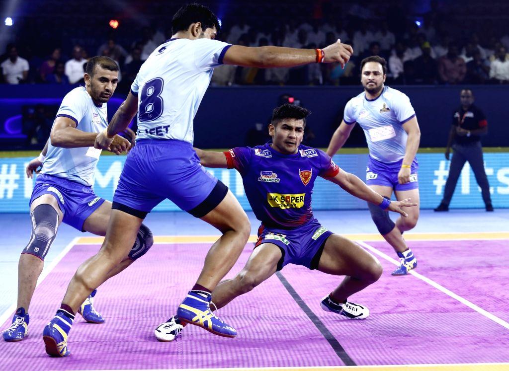 Players in action during Pro Kabaddi Season 7 match between Dabang Delhi and Tamil Thalaivas at Gachibowli Indoor Stadium in Hyderabad, on July 25, 2019.